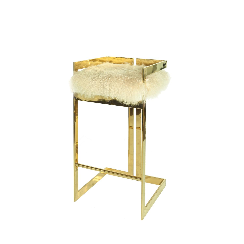 Brass Bar Stool With Mongolian Fur Cushion